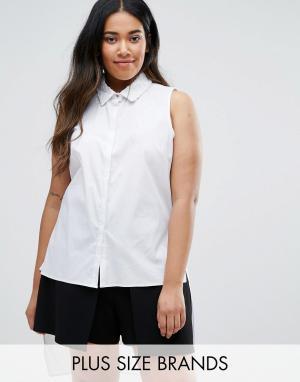 Elvi Рубашка с асимметричным краем Plus. Цвет: белый