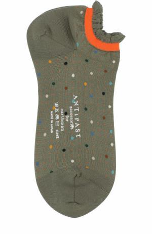 Хлопковые носки с принтом Antipast. Цвет: хаки