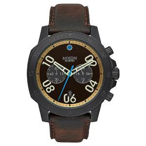 Кварцевые часы  Ranger Chrono Leather All Black/Brass/Brown Nixon. Цвет: черный,коричневый