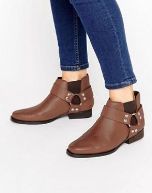 ASOS Кожаные ботинки челси в стиле вестерн ALTICO. Цвет: коричневый