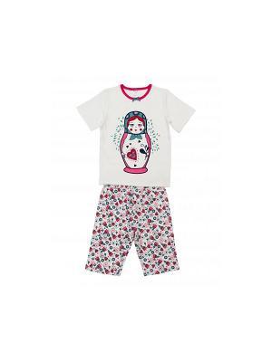 Пижама Модамини. Цвет: белый, голубой, коралловый