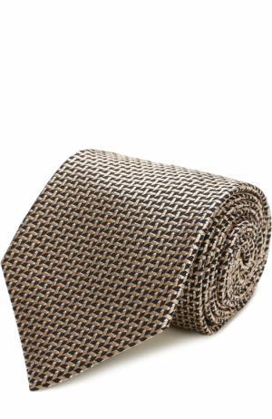 Шелковый галстук с узором Tom Ford. Цвет: бежевый