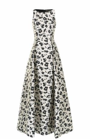 Приталенное платье-макси с цветочным принтом Alice + Olivia. Цвет: черно-белый