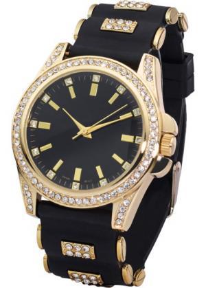 Часы на силиконовом браслете со стразами (золотистый/черный) bonprix. Цвет: золотистый/черный