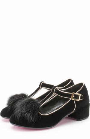 Текстильные туфли с металлизированной отделкой и меховым помпоном Missouri. Цвет: черный
