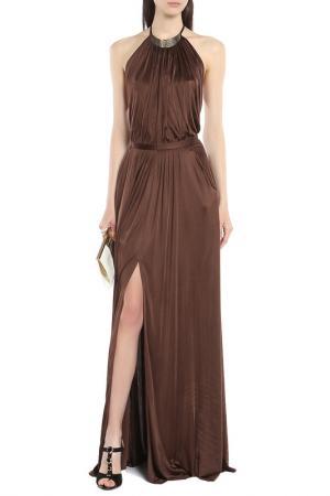 Вечернее платье-макси с разрезом Versace Collection. Цвет: коричневый