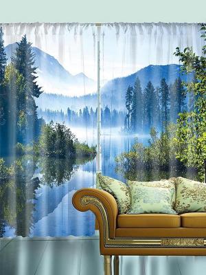 Комплект фотоштор Туман над синими горами, 290*265 см Magic Lady. Цвет: голубой