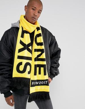 Sixth June Черный большой броский шарф. Цвет: желтый