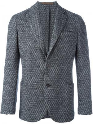 Пиджак на одну пуговицу с узором Eleventy. Цвет: серый