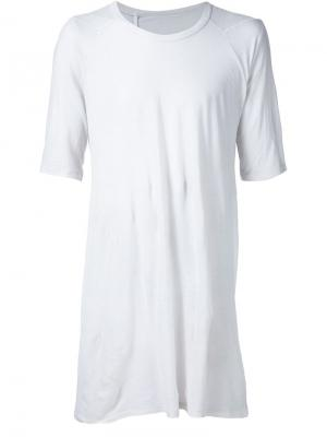 Удлиненная футболка Boris Bidjan Saberi. Цвет: белый