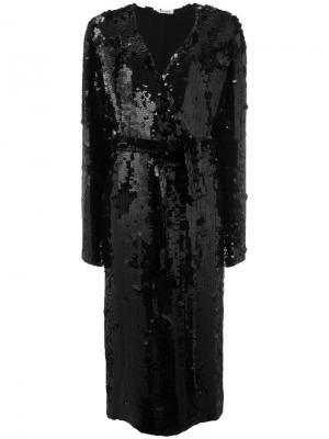 Пальто с поясом и пайетками Attico. Цвет: чёрный