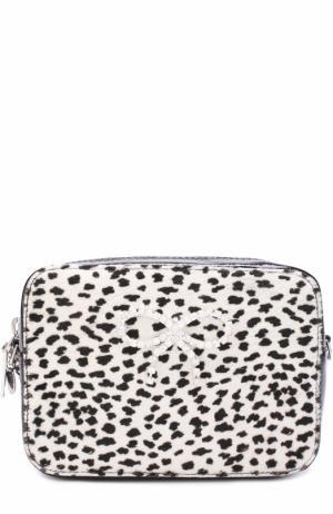 Кожаная сумка со стразами Simonetta. Цвет: черно-белый