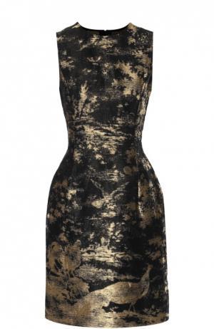 Приталенное мини-платье с металлизированной отделкой Oscar de la Renta. Цвет: золотой