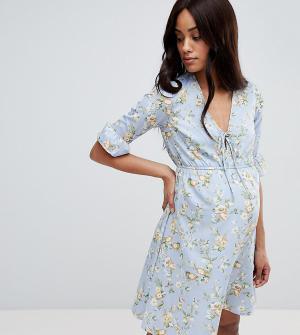 New Look Maternity Платье с принтом для беременных. Цвет: черный