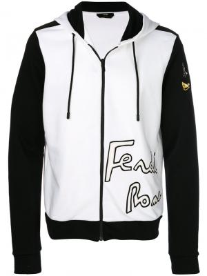 Contrast hooded jacket Fendi. Цвет: белый