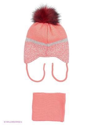 Шапка и шарф Ambra. Цвет: коралловый