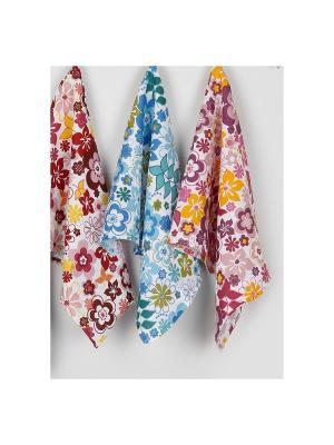 Набор кухонных печатных полотенец  Кантри ТекСтиль для дома. Цвет: белый, зеленый, сливовый, бордовый, голубой