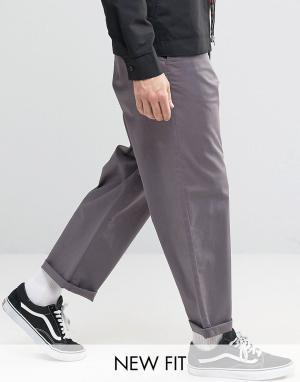 ASOS Темно-серые чиносы с широкими штанинами. Цвет: фиолетовый