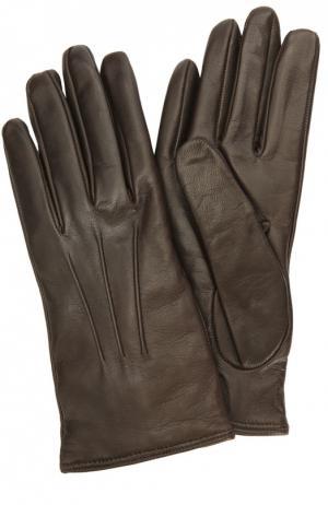 Кожаные перчатки с подкладкой из кашемира Sermoneta Gloves. Цвет: темно-коричневый