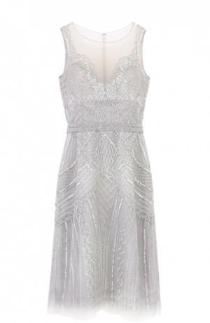 Полупрозрачное мини-платье с вышивкой бисером и пайетками Basix Black Label. Цвет: серебряный