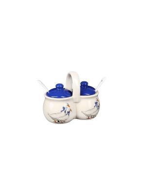 Набор для специй Гусь (2 емкости по 170г) в п/у Elff Ceramics. Цвет: белый, синий