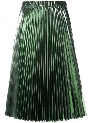 Плиссированная юбка миди Nº21. Цвет: зелёный