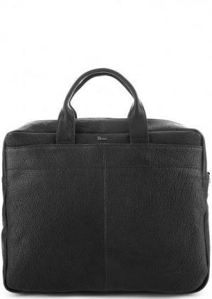 Вместительная кожаная сумка с отделение для ноутбука Bruno Rossi. Цвет: черный