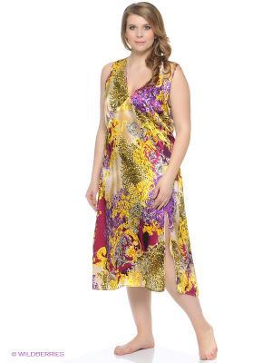 Ночная сорочка Del Fiore. Цвет: золотистый, серо-голубой, фиолетовый, черный