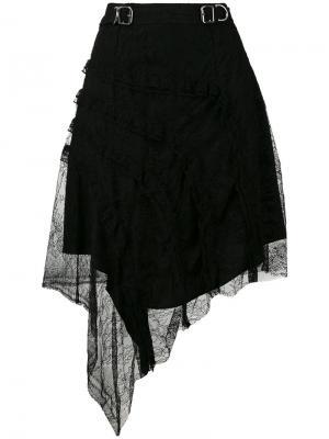 Асимметричная юбка с кружевом Carven. Цвет: чёрный