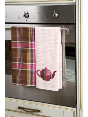 Набор полотенец кухонных Чайник в клетку - 2 шт., 100% хлопок. ARLONI. Цвет: коричневый, розовый