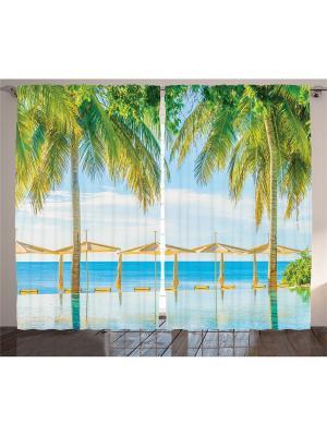 Плотные фотошторы Бежевые зонтики на пляже, 290*265 см Magic Lady. Цвет: белый