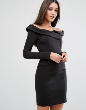 Lavish Alice Платье мини с открытыми плечами. Цвет: черный