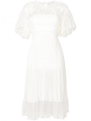 Присборенное кружевное платье Shadow с плиссировкой Three Floor. Цвет: белый