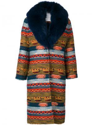 Пальто с меховым воротником Giada Benincasa. Цвет: многоцветный
