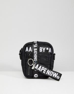 AAPE BY A BATHING APE Черная сумка для авиаперелетов. Цвет: черный