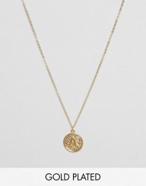 Ottoman Hands Ожерелье с инициалом А на подвеске. Цвет: золотой