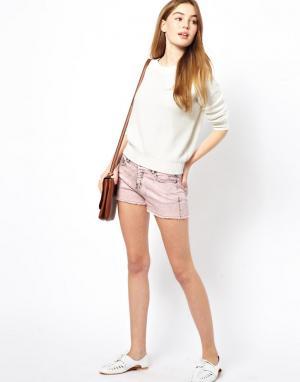 By Zoe Короткие шорты из выбеленного денима. Цвет: розовый