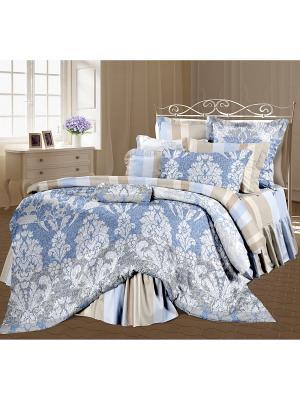 Комплект постельного белья 1,5 перкаль Романтика Александрия. Цвет: серо-голубой, белый