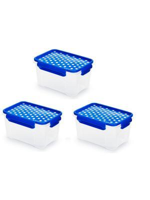 Комплект из 3х контейнеров для СВЧ. Объемом: 1,1л. Полимербыт. Цвет: синий