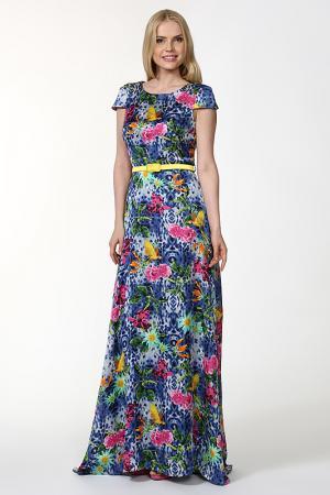 Платье с ремнем True. Цвет: синий, розовый, зеленый