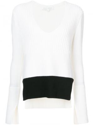 V-neck knitted top Narciso Rodriguez. Цвет: белый
