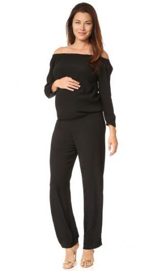 Комбинезон с открытыми плечами для беременных MONROW. Цвет: голубой
