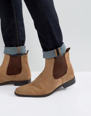 Dune Коричневые замшевые ботинки челси Marky. Цвет: рыжий