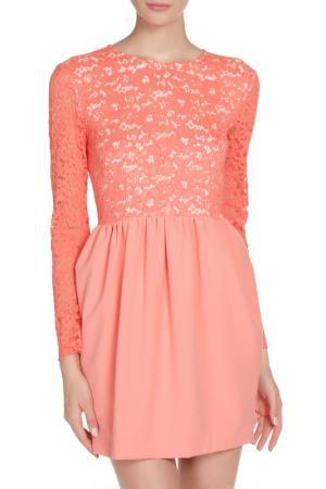 Кружевное платье MSGM. Цвет: коралловый