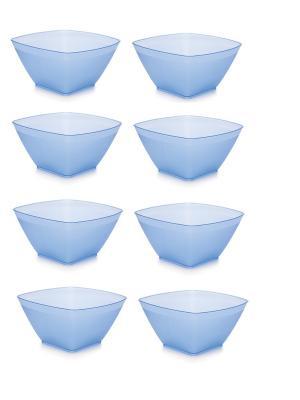 Комплект салатник НУВО 0.8 л квадратная -8 шт. Полимербыт. Цвет: синий