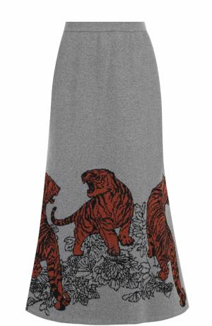 Расклешенная юбка-миди с принтом Tak.Ori. Цвет: светло-серый