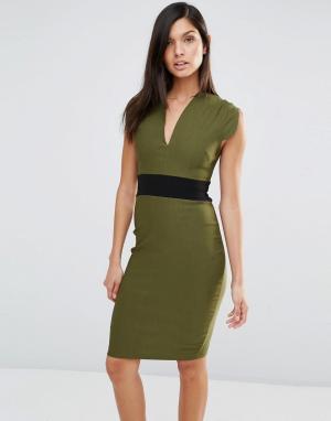 Vesper Платье-футляр с короткими рукавами и поясом. Цвет: зеленый