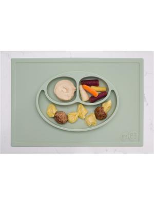 Тарелка с подставкой Ezpz Happy Mat Sage. Цвет: оливковый