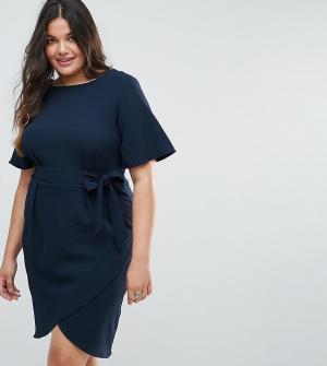 Closet London Plus Платье с поясом и рукавами-кимоно. Цвет: темно-синий