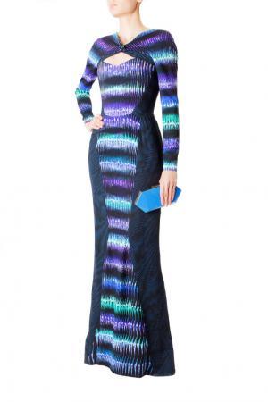 Платье в пол из вискозы с принтом Peter Pilotto. Цвет: черный